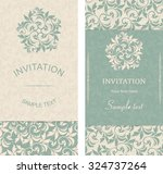 set of antique greeting cards ... | Shutterstock .eps vector #324737264