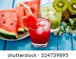 watermelon juice and kiwi juice ... | Shutterstock . vector #324739895
