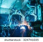team robot welding movement... | Shutterstock . vector #324741035