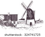 sketch with a mill house and... | Shutterstock .eps vector #324741725