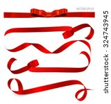 Shiny red ribbon on white background with copy space. Vector illustration. | Shutterstock vector #324743945