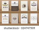 set of coffee brochures in... | Shutterstock .eps vector #324747509