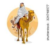 arabian bedouin riding a camel  ...   Shutterstock .eps vector #324748577