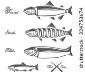 salmon cuts diagram   whole... | Shutterstock .eps vector #324753674