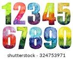 hand drawn watercolor numbers | Shutterstock . vector #324753971