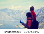 father and son travel hiking in ...   Shutterstock . vector #324766547