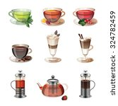 set of icons of coffee  tea and ... | Shutterstock .eps vector #324782459