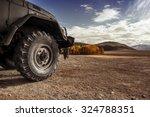 Truck Car Wheel On Offroad...