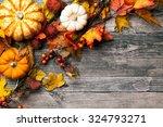 Autumn Background With Pumpkins ...