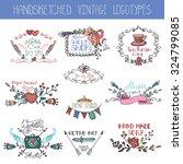doodle  logotype set.vintage ... | Shutterstock .eps vector #324799085