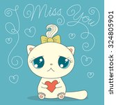 cute cartoon cat with heart and ... | Shutterstock .eps vector #324805901