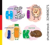 deutsch alphabet. dog  hedgehog ... | Shutterstock .eps vector #324808271