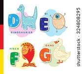 deutsch alphabet. dinosaur  egg ... | Shutterstock .eps vector #324808295