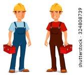happy cartoon repairman or... | Shutterstock .eps vector #324808739