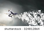 young businessman flying on... | Shutterstock . vector #324812864