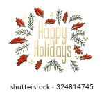happy holidays vintage greeting ... | Shutterstock .eps vector #324814745