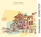 singapore china town drawing....   Shutterstock .eps vector #324817319