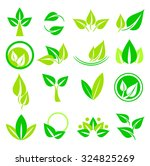 collection of leaf logos icons... | Shutterstock .eps vector #324825269