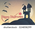 happy halloween card. haunted... | Shutterstock .eps vector #324858299
