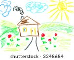 house. kids art.   Shutterstock . vector #3248684