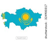 map of kazakhstan with the flag | Shutterstock .eps vector #324900317