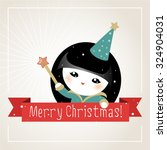 christmas card with japanese... | Shutterstock .eps vector #324904031
