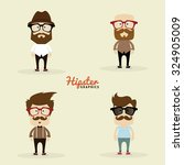 set of hipster characters on a... | Shutterstock .eps vector #324905009