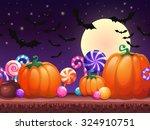 halloween cartoon background.... | Shutterstock .eps vector #324910751