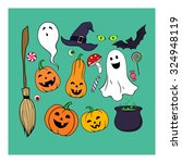 funny colour smiling halloween... | Shutterstock .eps vector #324948119