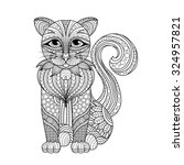 drawing zentangle cat for... | Shutterstock .eps vector #324957821