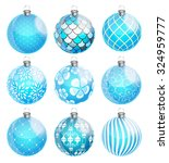 new year and christmas balls... | Shutterstock .eps vector #324959777