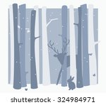 snowy winter scene in the woods ... | Shutterstock .eps vector #324984971