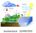water cycle diagram. the sun ... | Shutterstock .eps vector #324987095