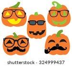 hipster pumpkins halloween... | Shutterstock .eps vector #324999437
