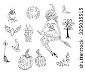 vector hand drawn halloween set.... | Shutterstock .eps vector #325035515