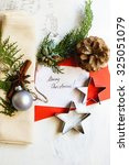 vintage or rustic christmas... | Shutterstock . vector #325051079