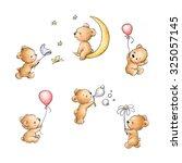 Stock photo set of cute teddy bears 325057145