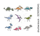 dinosaurs collection  sketch... | Shutterstock .eps vector #325059041