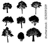 set of tree silhouettes ... | Shutterstock .eps vector #325059209