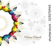 happy diwali colorful diya...   Shutterstock .eps vector #325070945