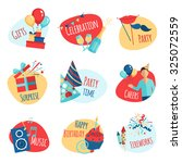 party emblems set with gifts... | Shutterstock . vector #325072559