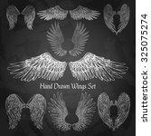 Hand Drawn Wings Set On Chalk...