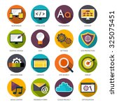 web design flat icons set with...