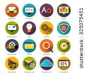 web design flat icons set with...