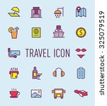 set of travel line icon