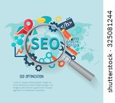 seo marketing concept with... | Shutterstock . vector #325081244