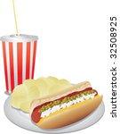Realistic Vector Hotdog  Chips...