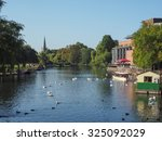 Small photo of STRATFORD UPON AVON, UK - SEPTEMBER 26, 2015: River Avon in Shakespeare birth town