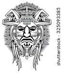 warrior tribal mask vector... | Shutterstock .eps vector #325093385