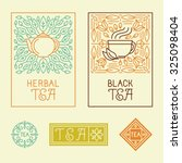 vector tea packaging labels and ... | Shutterstock .eps vector #325098404